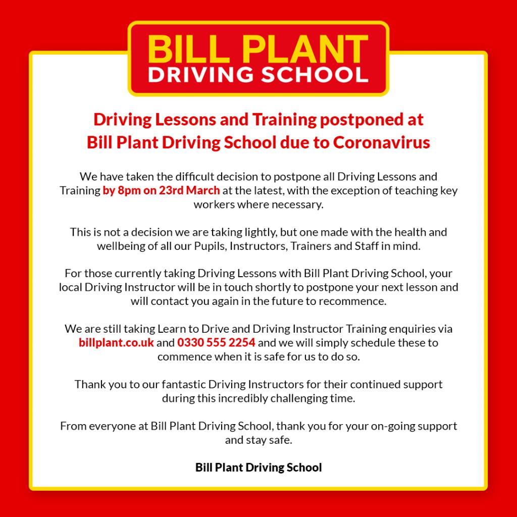 Bill Plant Driving School postpone Driving Lessons due to Coronavirus