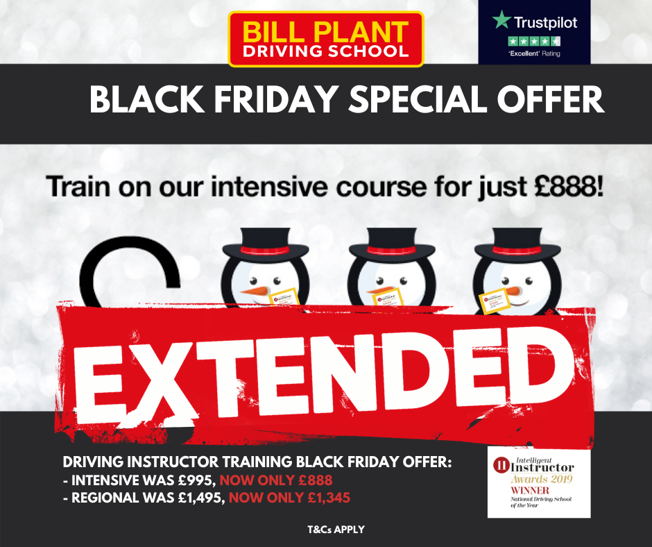 Black Friday Driving Instructor Training Offer Extended